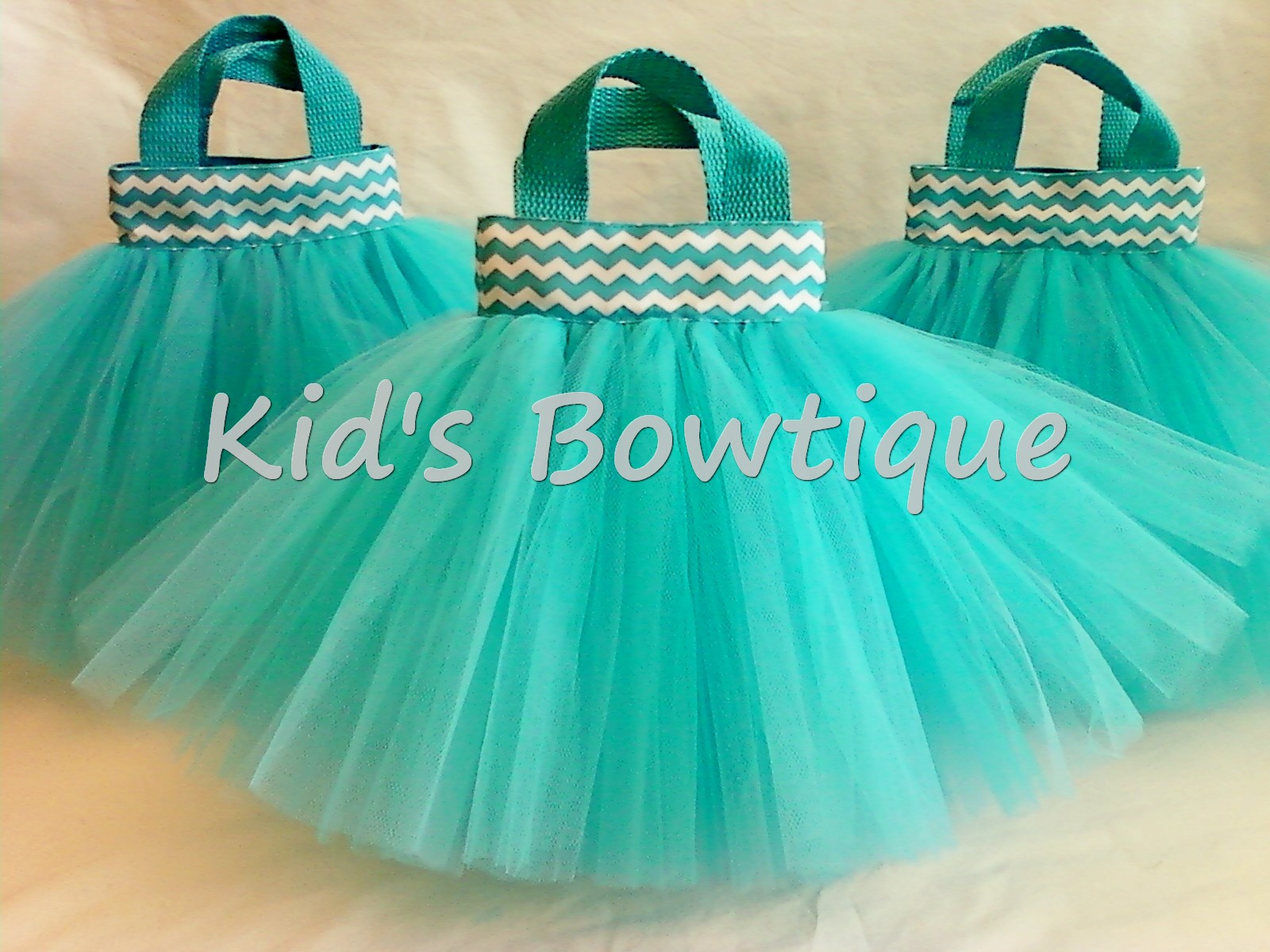 Aqua Chevron Ribbon Party Favor Tutu Bag