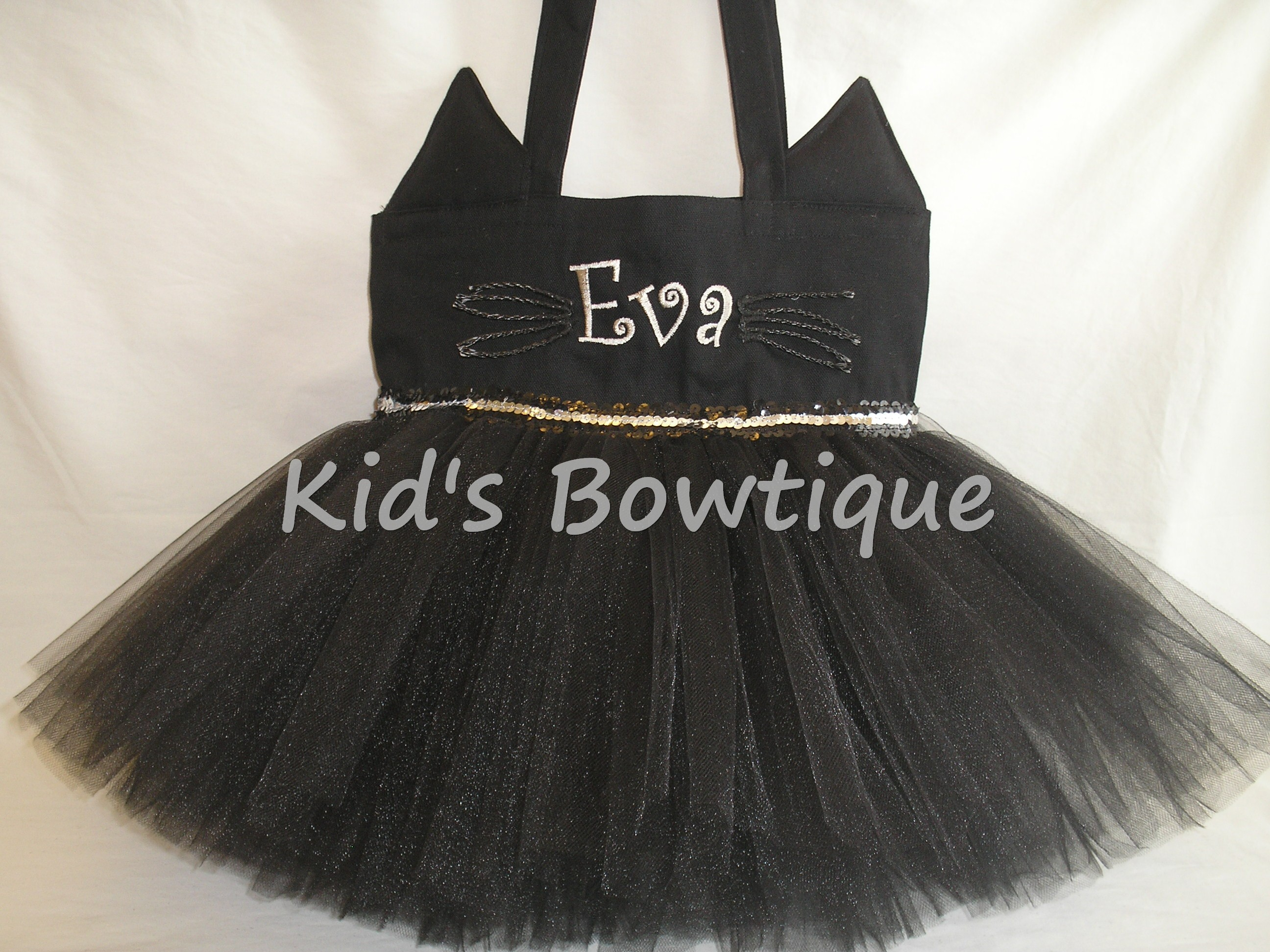 Monogrammed Black Cat Tutu tote BAg- Halloween trick or treat bag