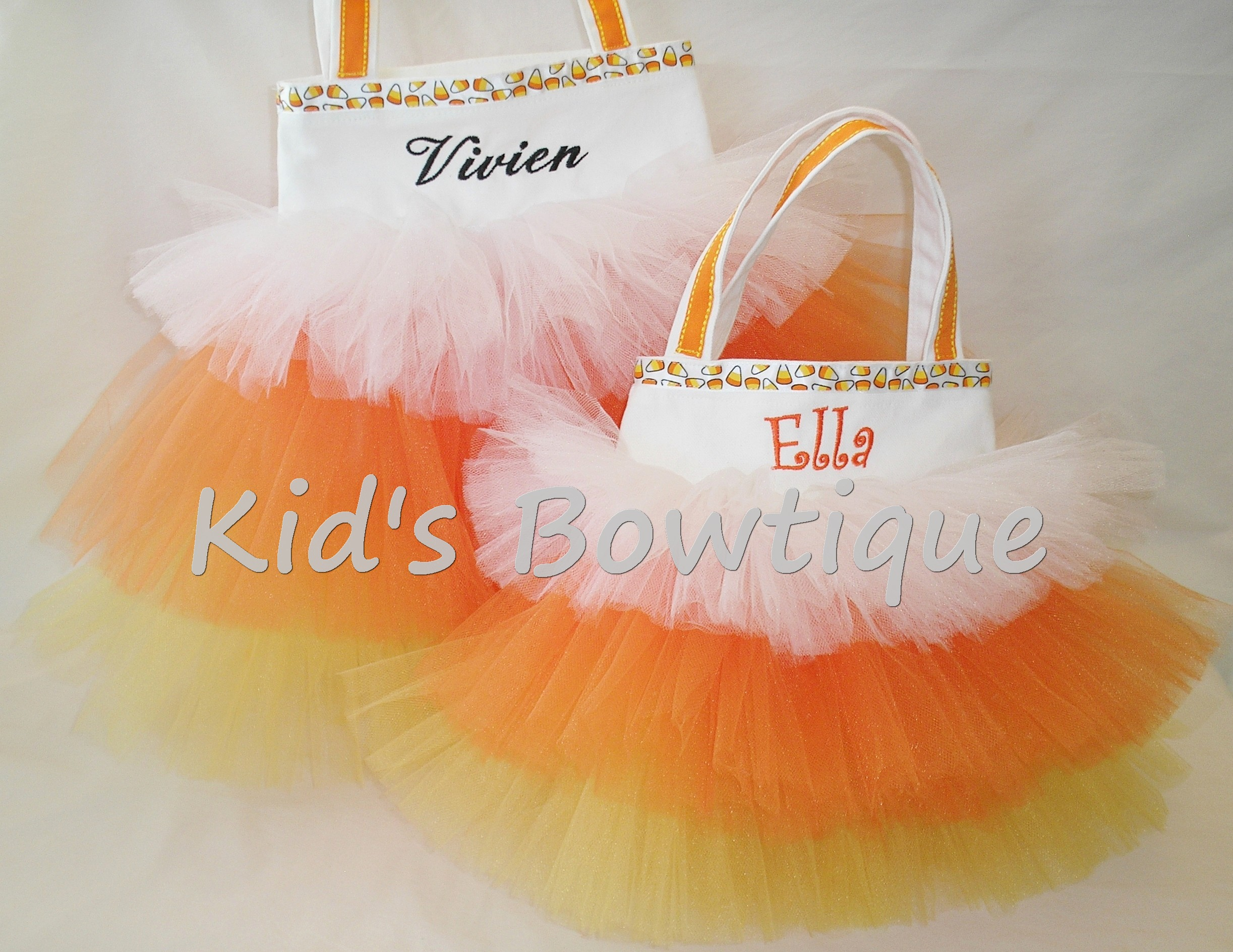 Halloween Candy Corn Trick or Treat Monogrammed Tutu Tote Bag