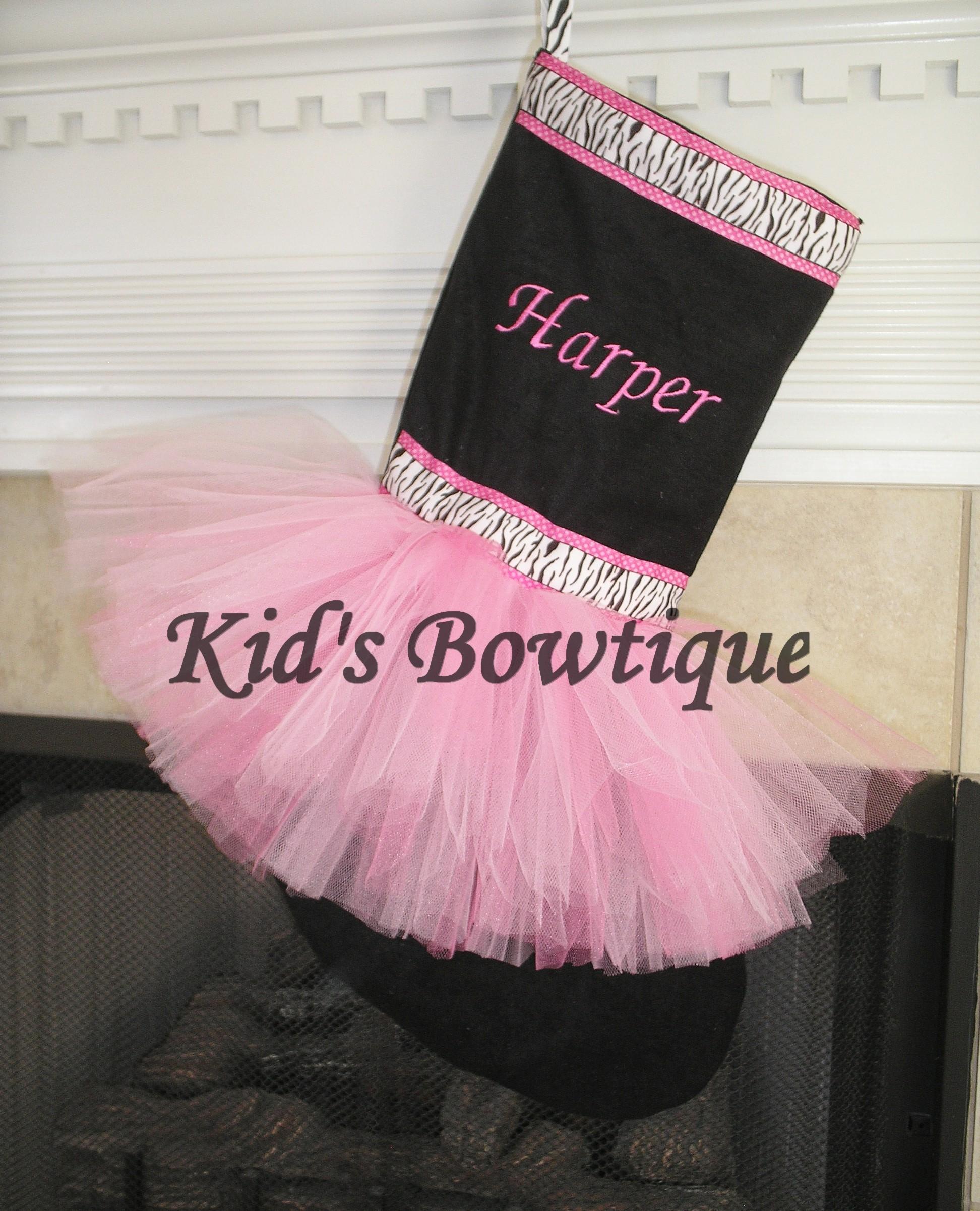 Pink Diva Zebra Ribbon Christmas Monogrammed Holiday Stocking