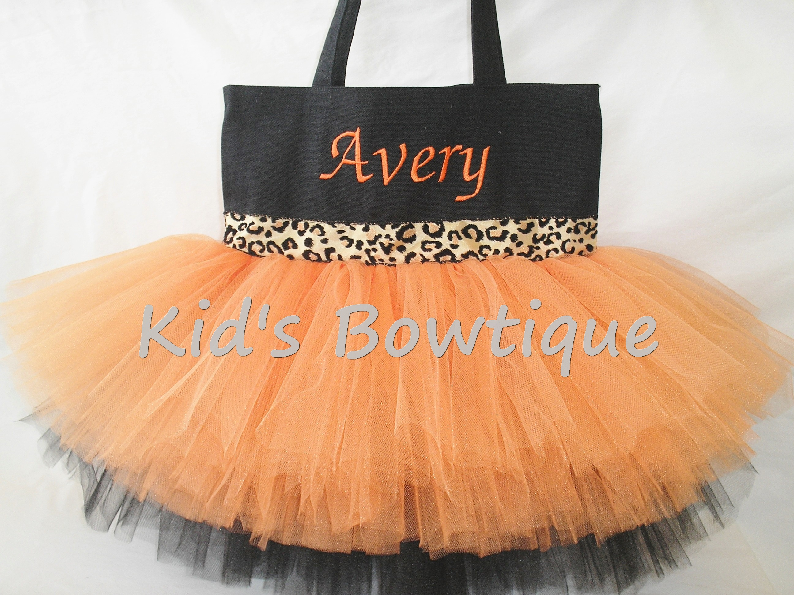 Monogrammed Orange and Black Leopard Cheetah Ribbon Trim Tutu Tote Bag