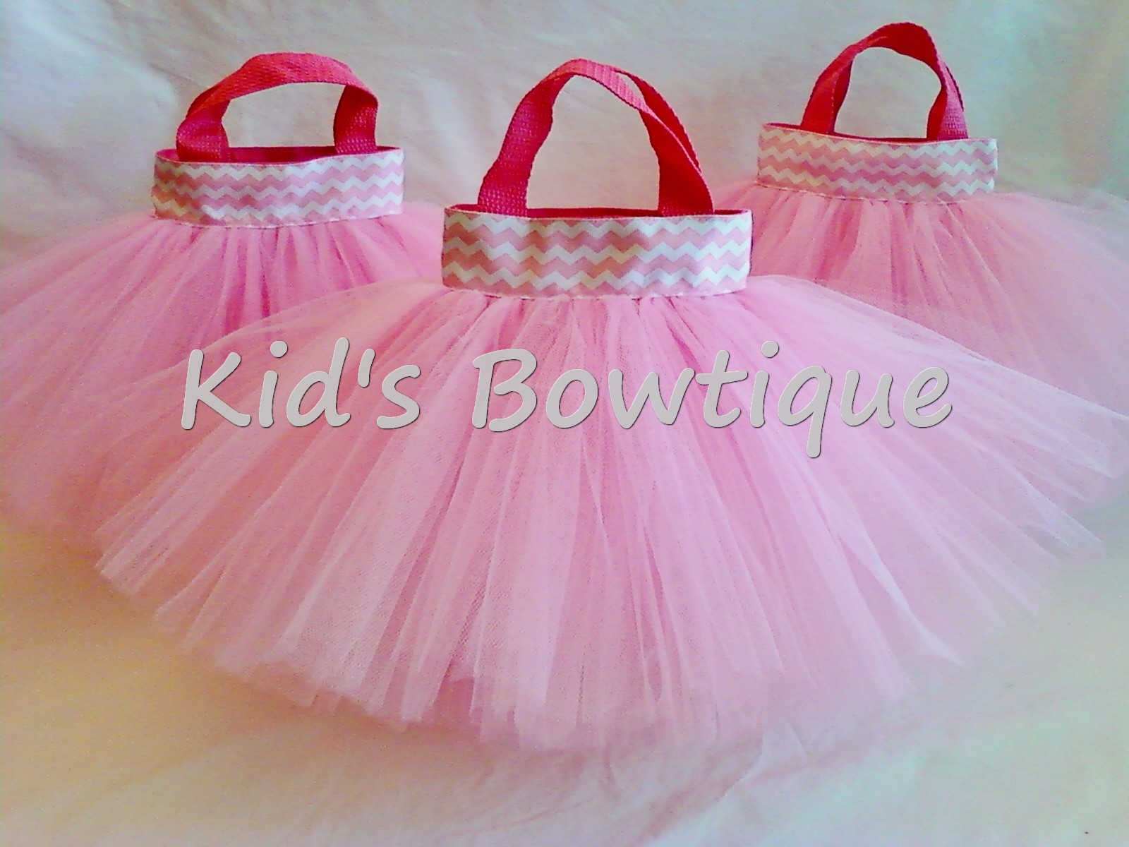 Pink Chevron Ribbon Party Favor Tutu Bags
