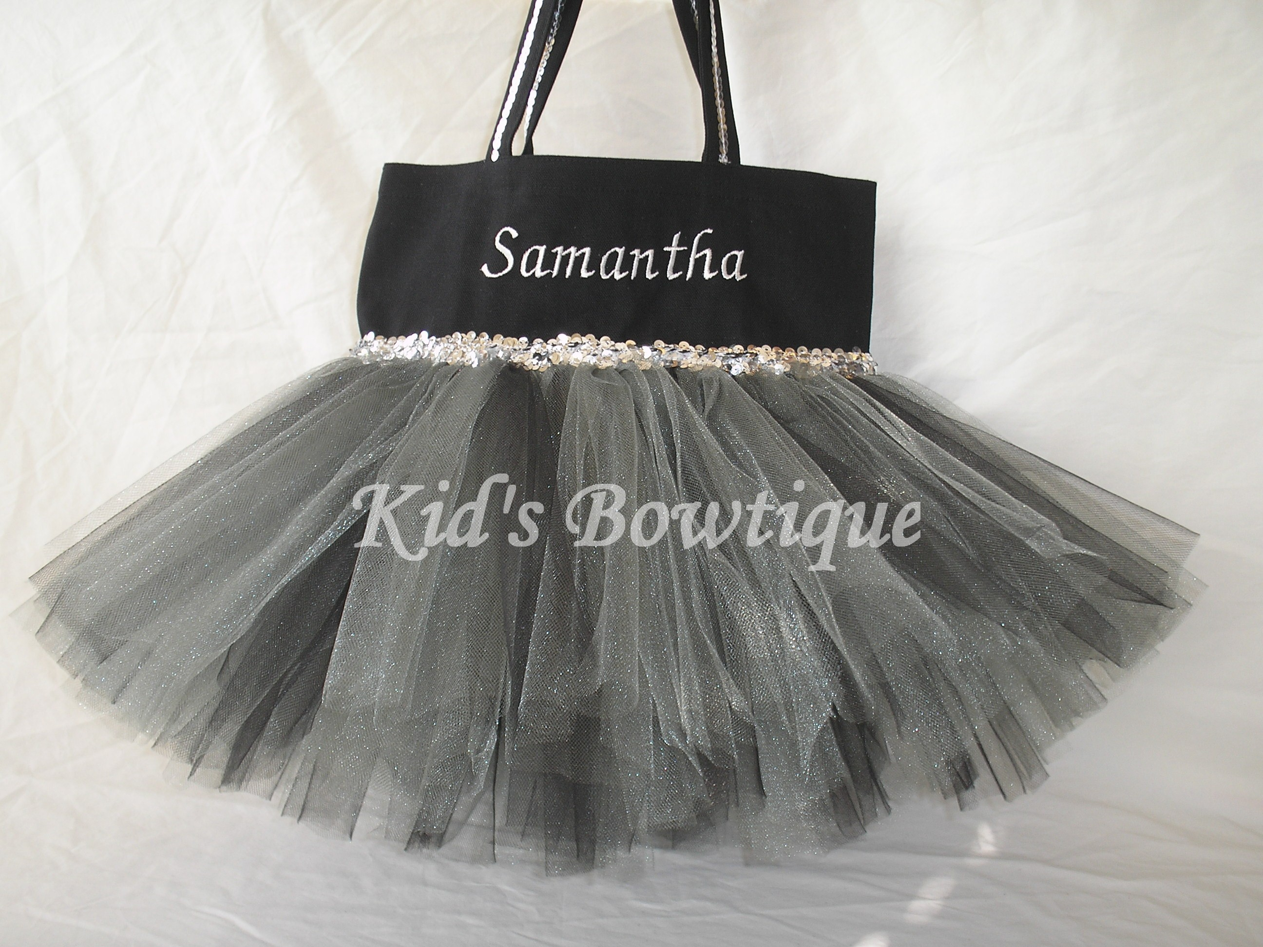 monogrammed silver and black tutu tote bag halloween witch costume trick or treat bag