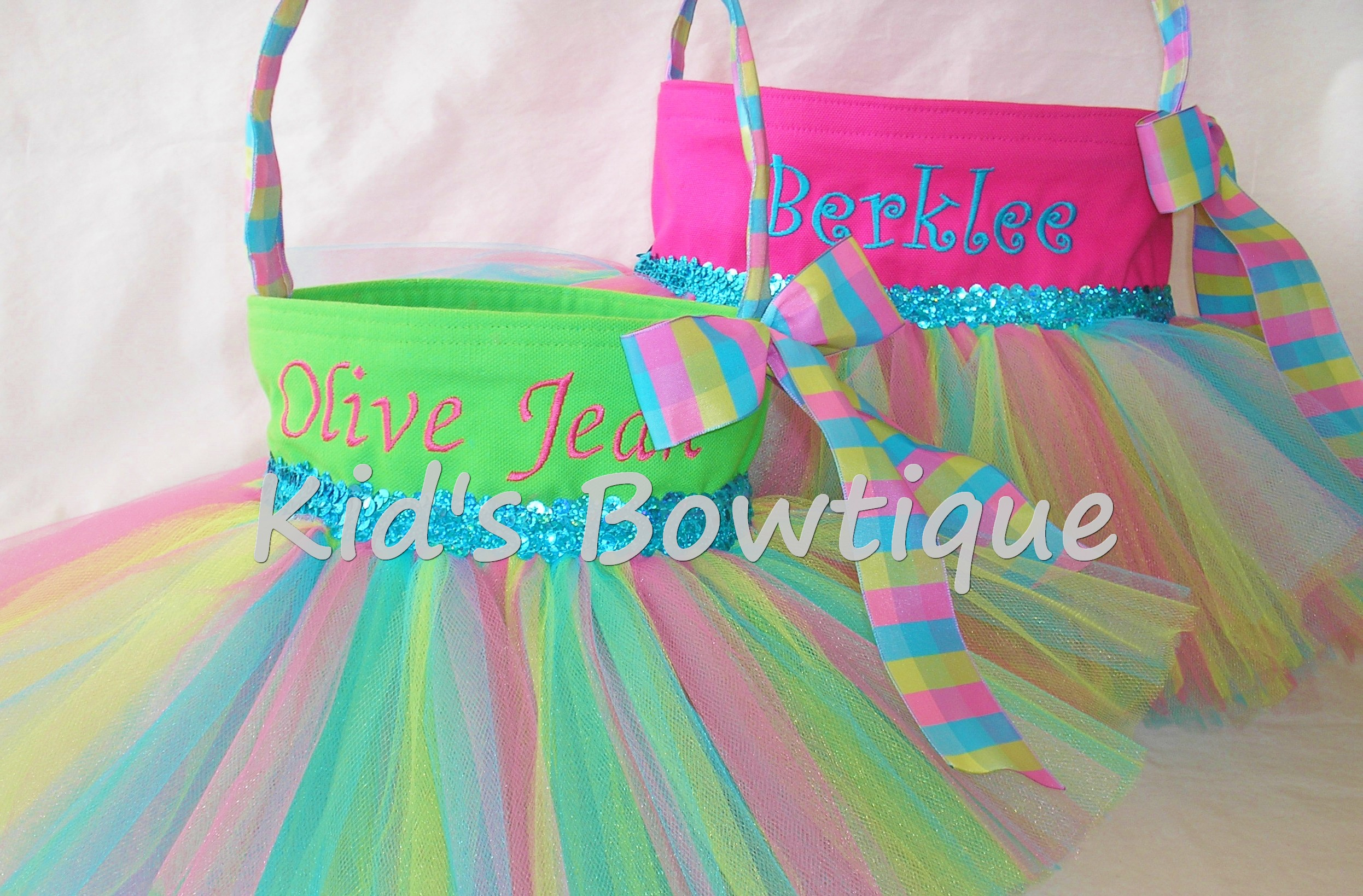 Monogrammed Easter Basket Tutu Bag- Personalized Purple Easter Bunny Basket Tutu Tote