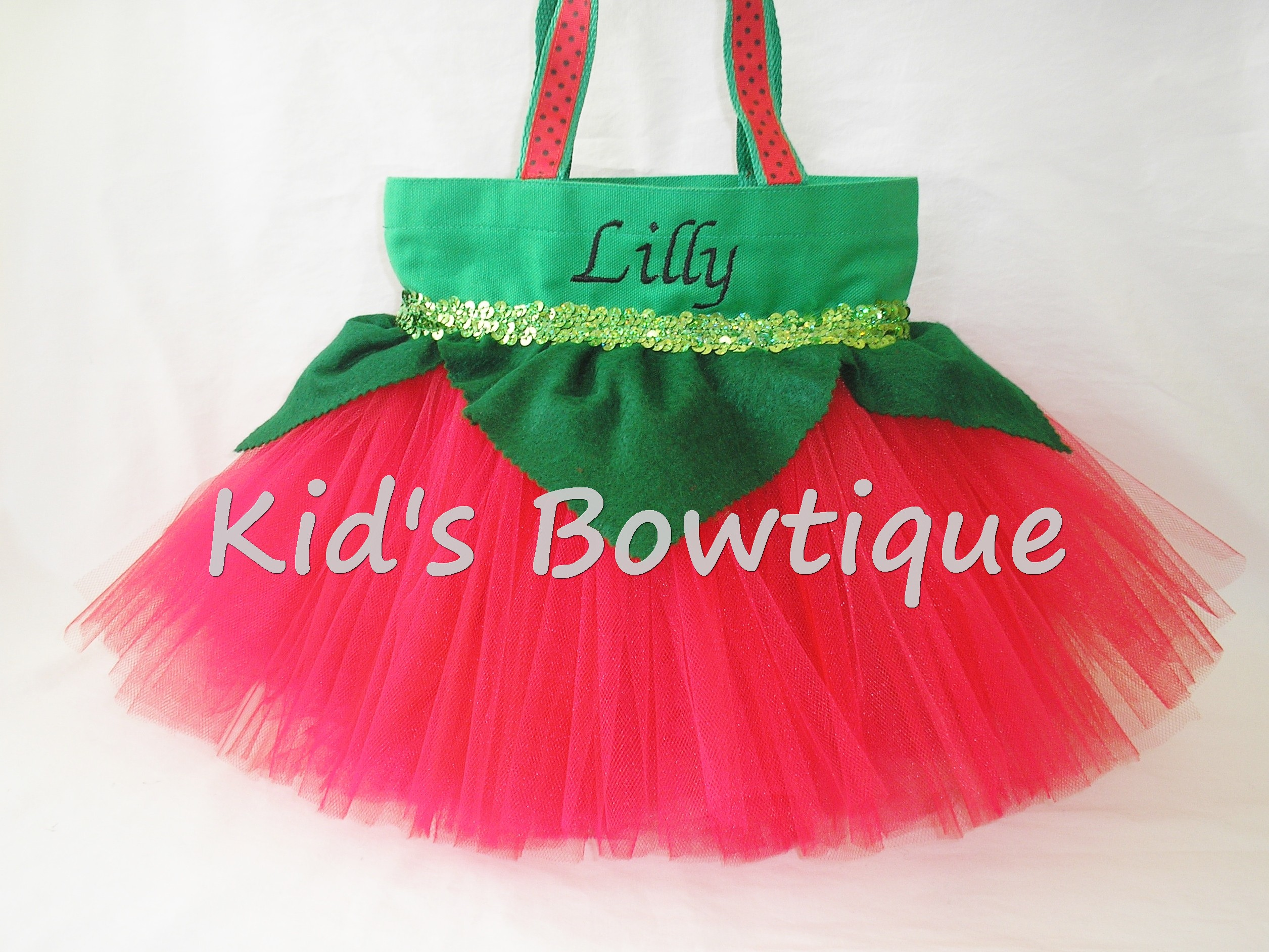 monogrammed stawberry halloween trick or treat tutu bags