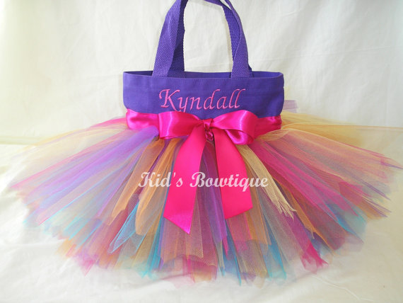 purple rainbow fairy tutu tote bag