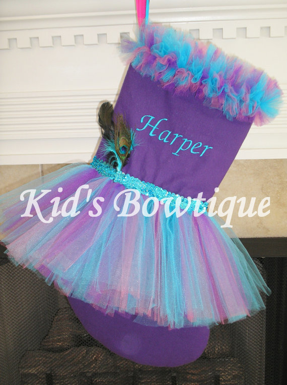 Monogrammed Peacock Tutu Christmas Stocking