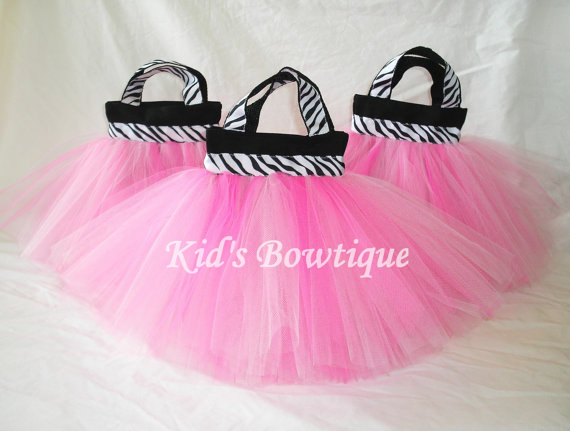 zebra wild about pink party favor tutu bags