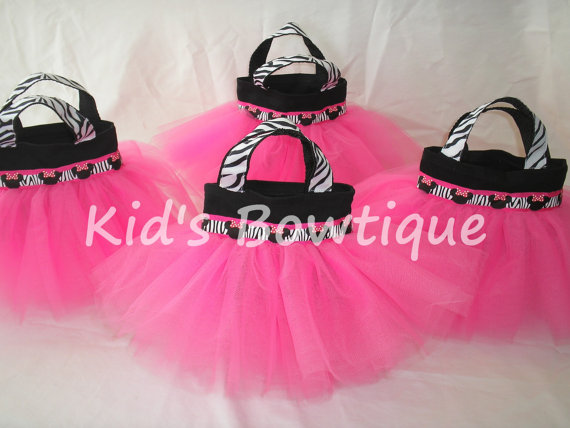 Zebra Minnie Mouse Disney Party Favor Tutu Bags