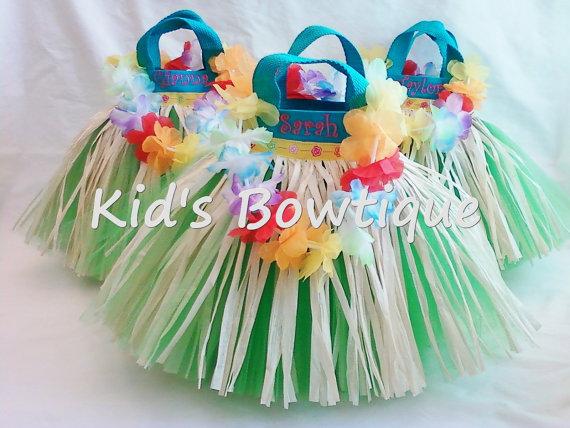 Luau Grass Skirt Tutu Party Favor Bags