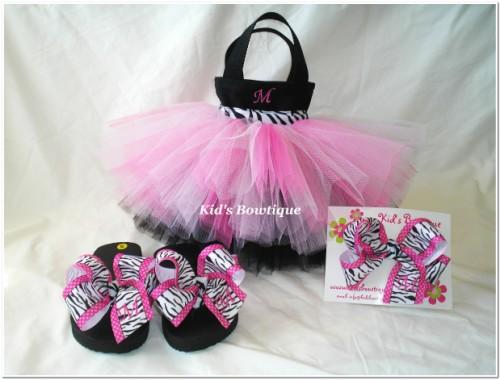 16eac6539b7355 Pink Diva Zebra Ribbon Monogrammed flip flop