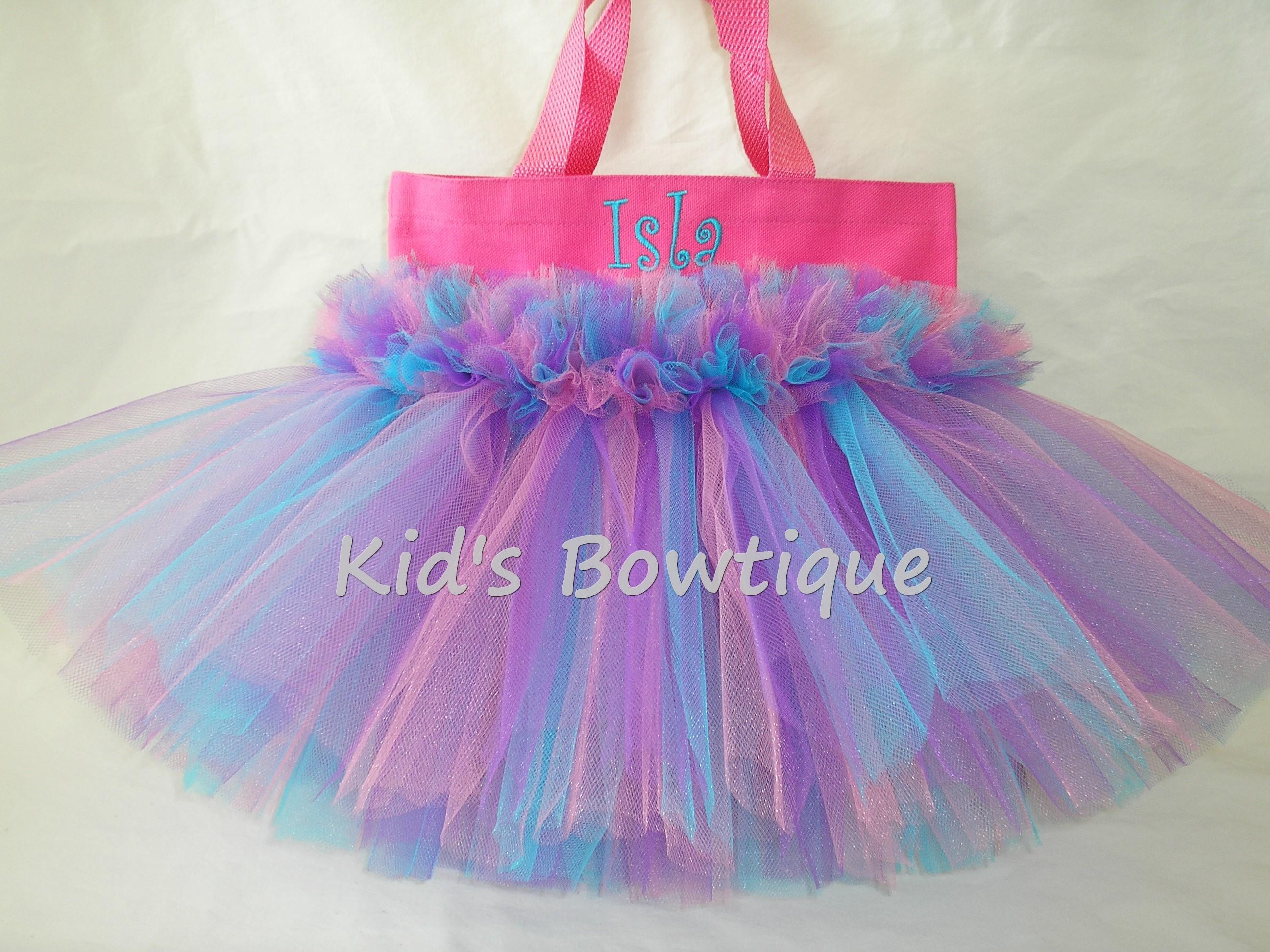 Monogrammed Tutu Tote Bag - ttb45 Aqua Pink Purple FLUFF