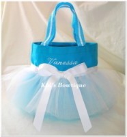 Personalized Tutu Tote Bag - ttb31 Aqua w/ White Bow - Ballgown SKIRT