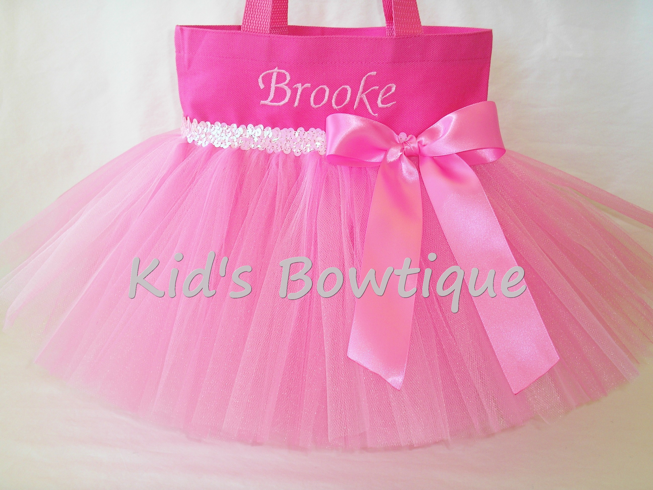 Monogrammed Tutu Tote Bag - Item ttb16 Princess Pink Dance Tutu Bag with Sequins and Bow