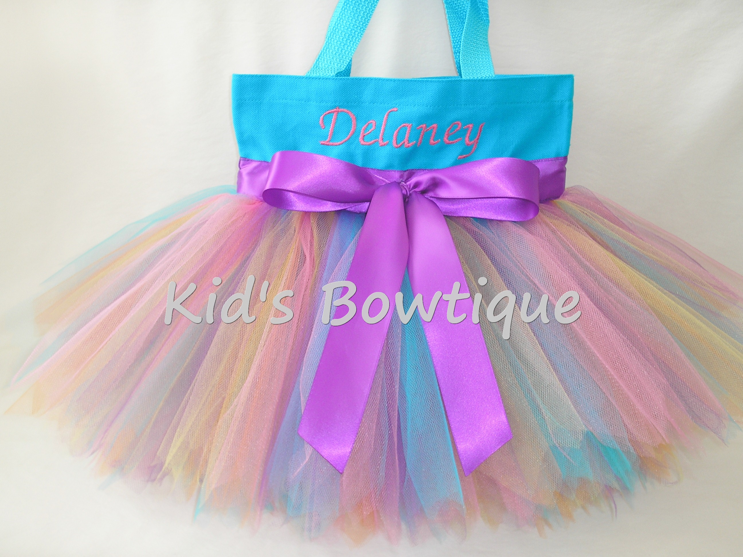 Monogrammed Tutu Tote Bag - ttb41 Aqua Rainbow Fairy -Purple Bow