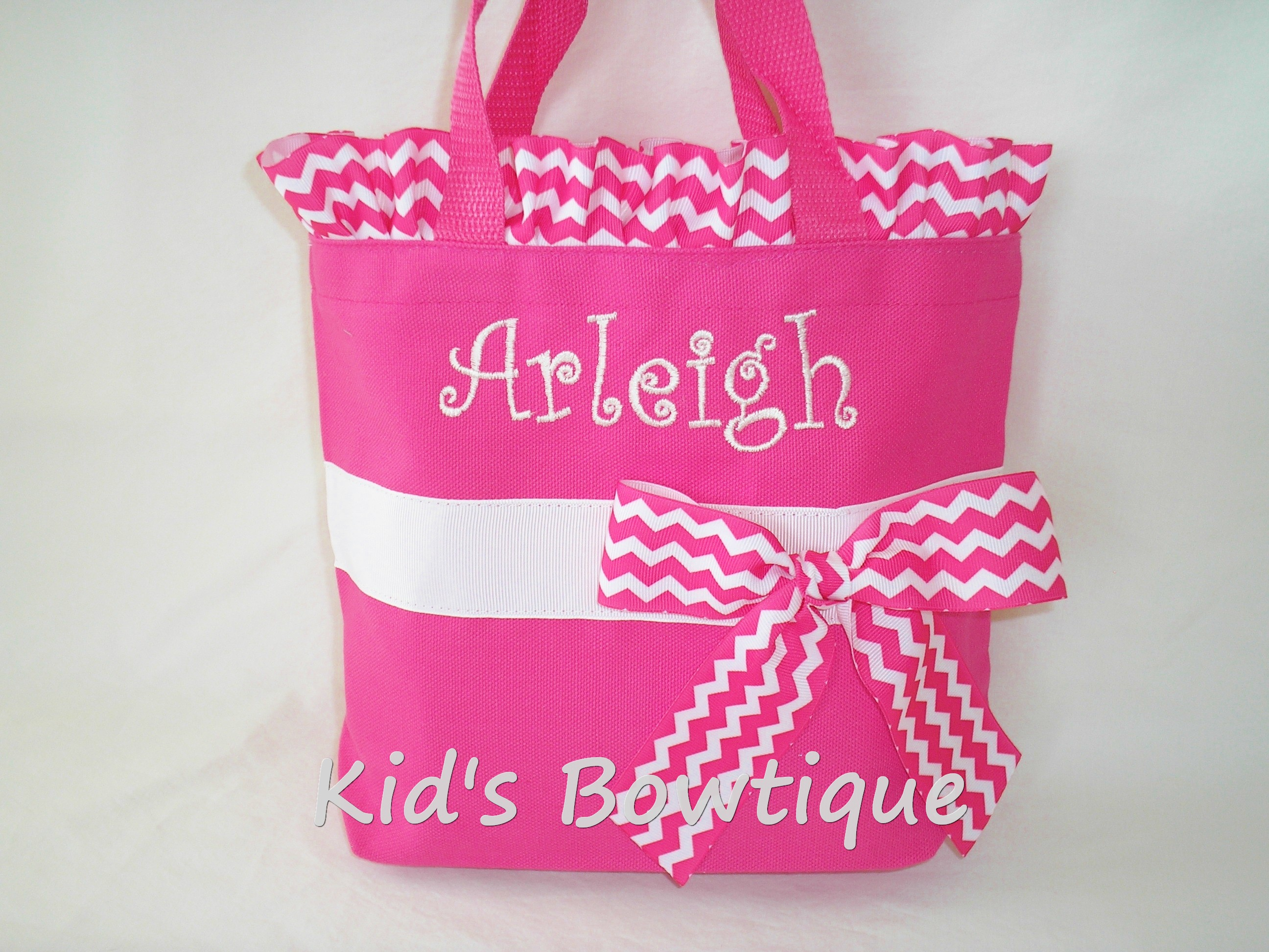 Chevron Ribbon Ruffles and Bow Personalized Tote Bag