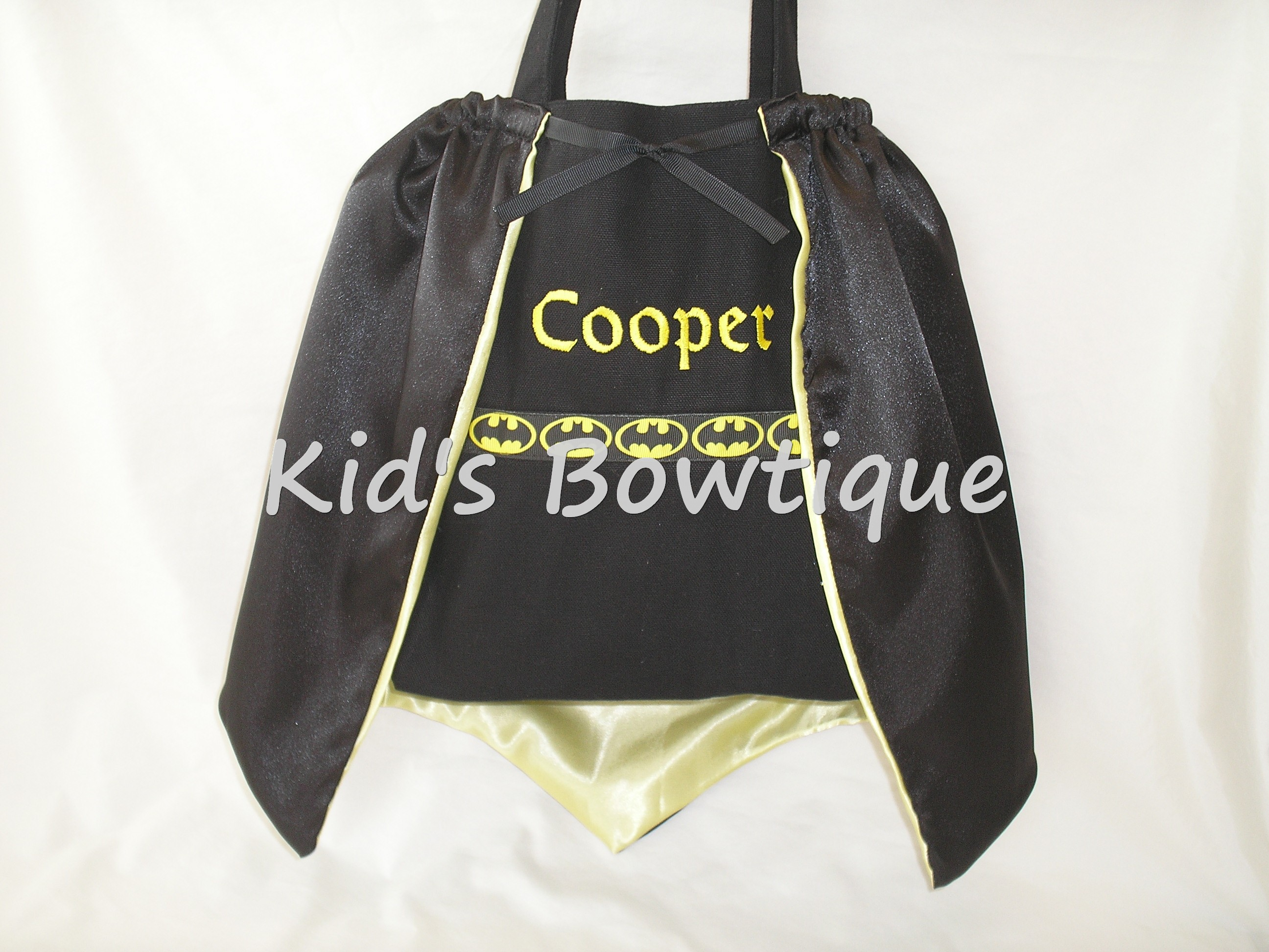 Monogrammed Batman Ribbon with Cape Tote Bag - Personalized Halloween Superhero Trick or Treat Bag