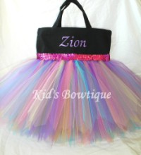Monogrammed Tutu Tote Bag - ttb29 Black -Rainbow with Sequins