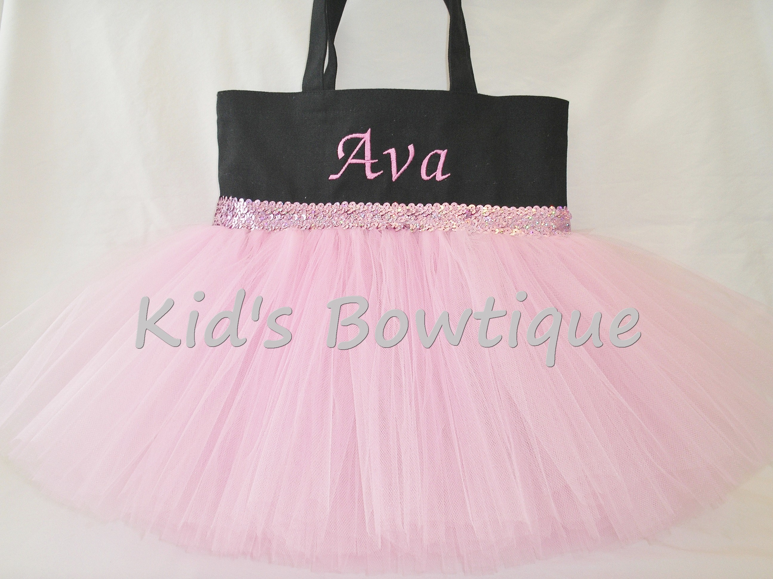 Monogrammed Tutu Tote Bag - ttb18 Black with Pink/Lavender Sequins