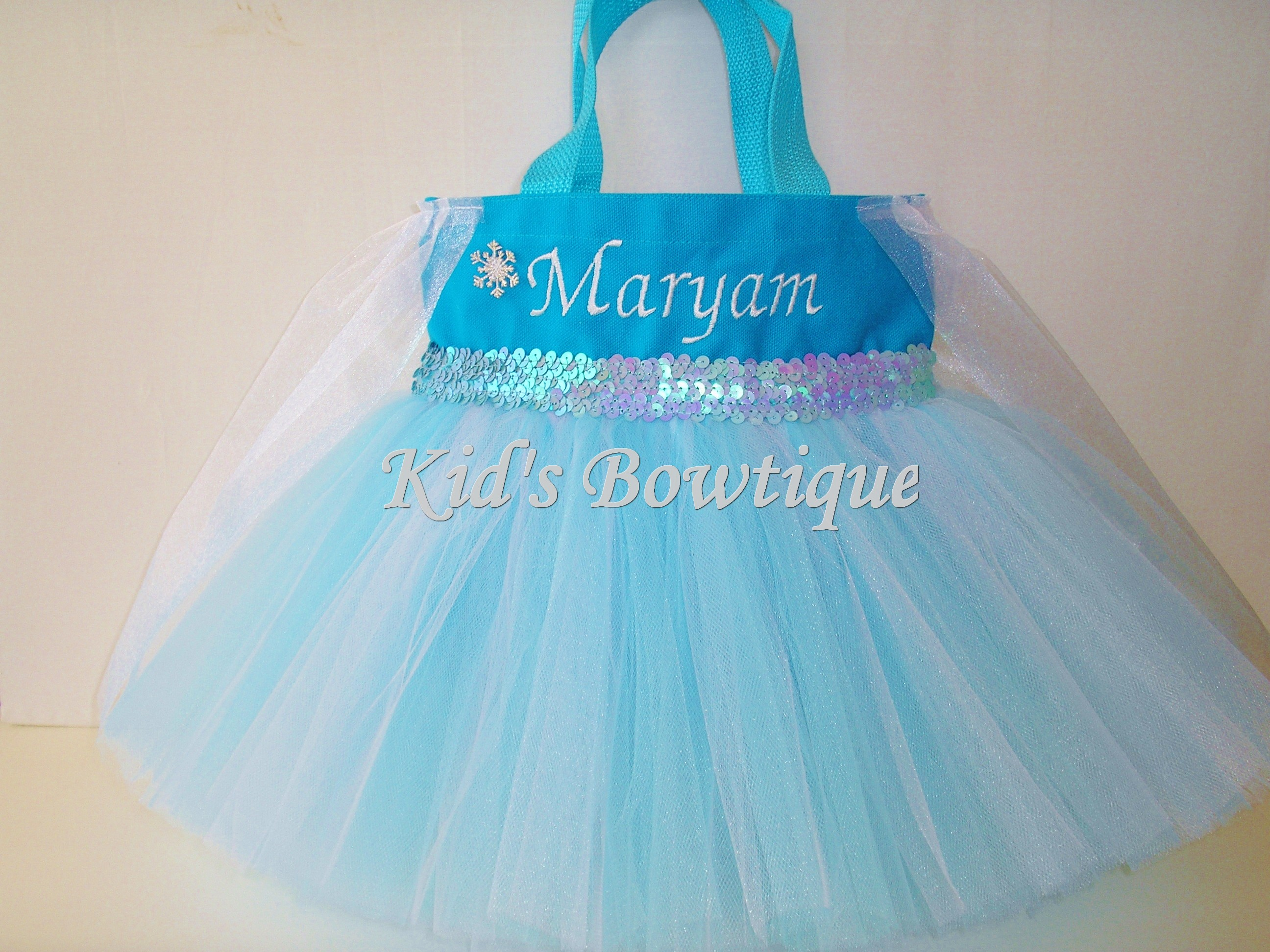 Princess Tutu Bag - ItemPTB11 Snowflake Princess with Blue/White Tutu and Sheer Drape