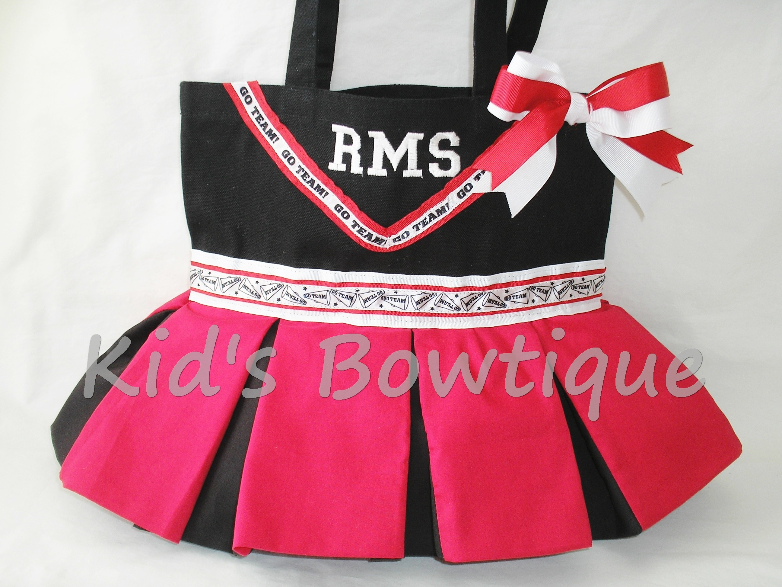 Personalized Cheerleader Dance Team Tote Bag - Go Team Ribbon