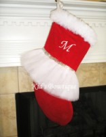 Christmas Tutu Stocking - ItemCTS3 Monogrammed Classic Red and White with Silver Sequins