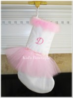 Christmas Tutu Stocking - ItemCTS2 Monogrammed White Stocking Pink Ballerina