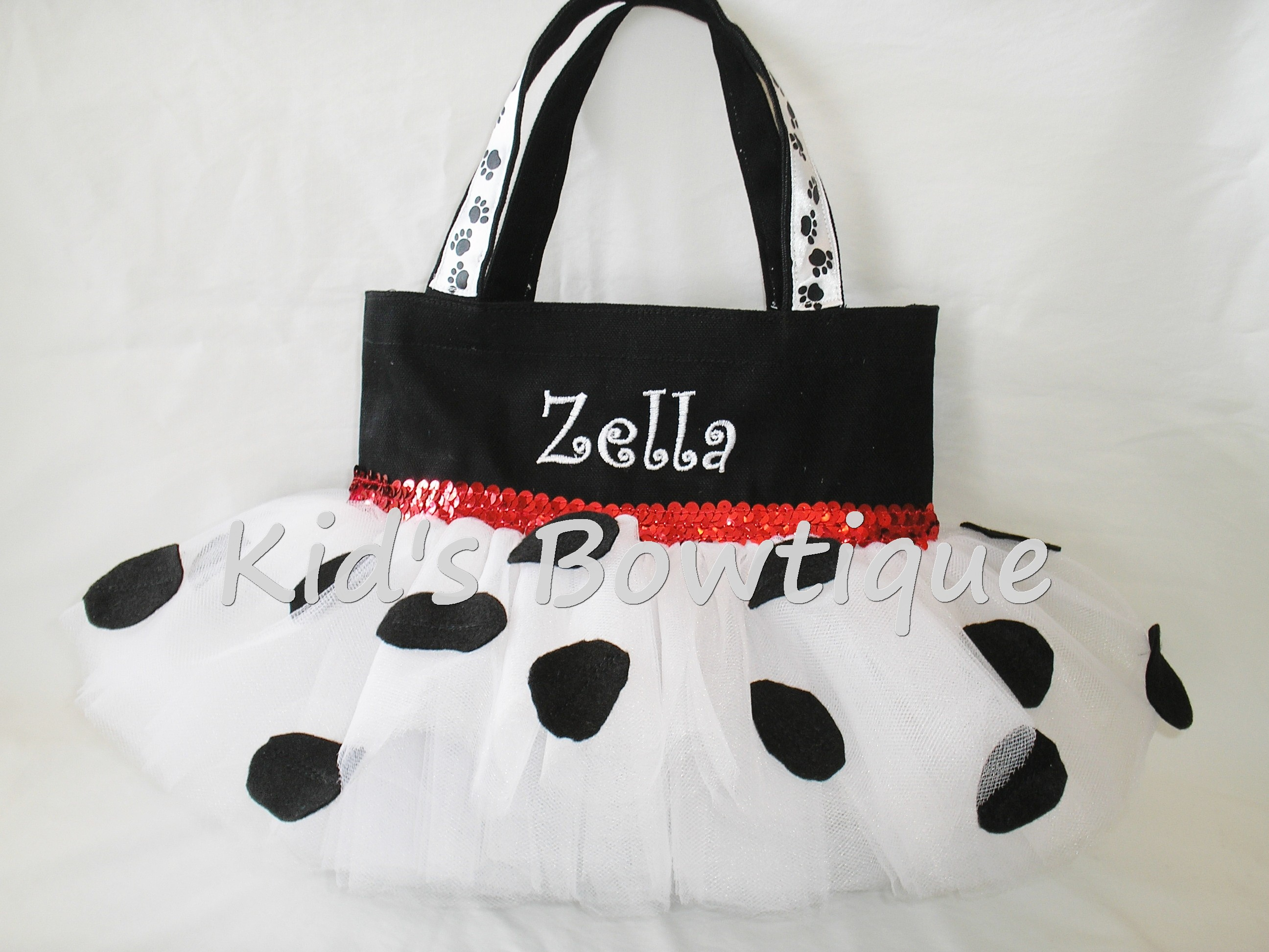 Halloween Tutu Bags - Item HTB8 Monogrammed Dalmatian Dog Tutu Bag