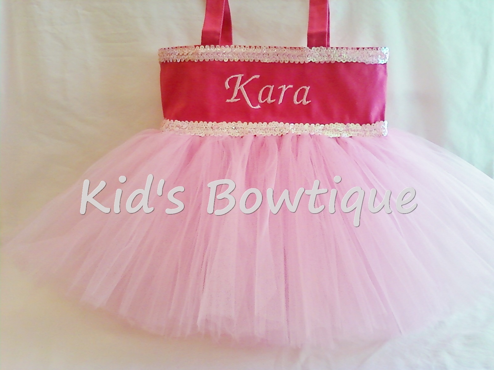 Monogrammed Tutu Tote Bag - Item ttb3 All Pink Double Sequins TUTU