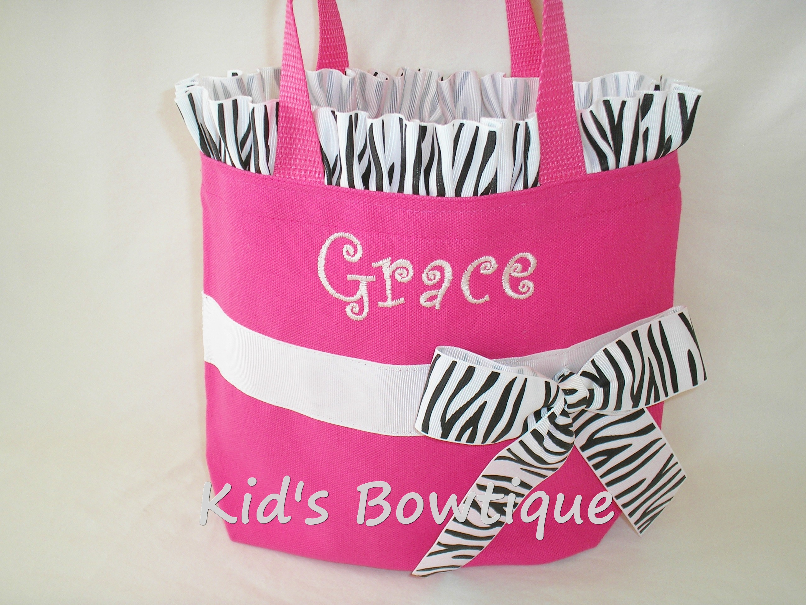 Zebra Ruffles and Bow Personalized Tote Bag