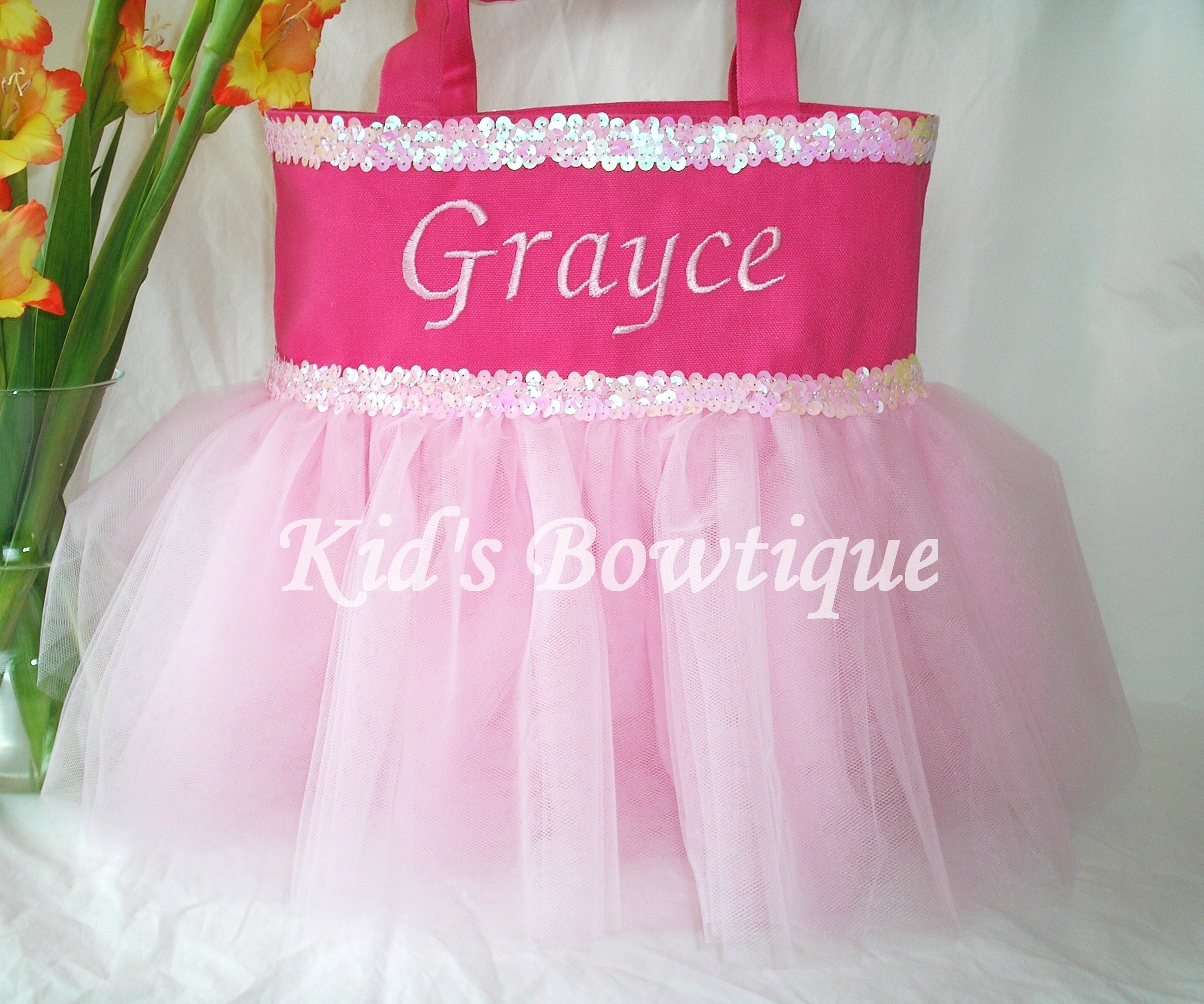 Personalized Tutu Tote Bag - ttb33 Double Pink Sequins - Ballgown SKIRT