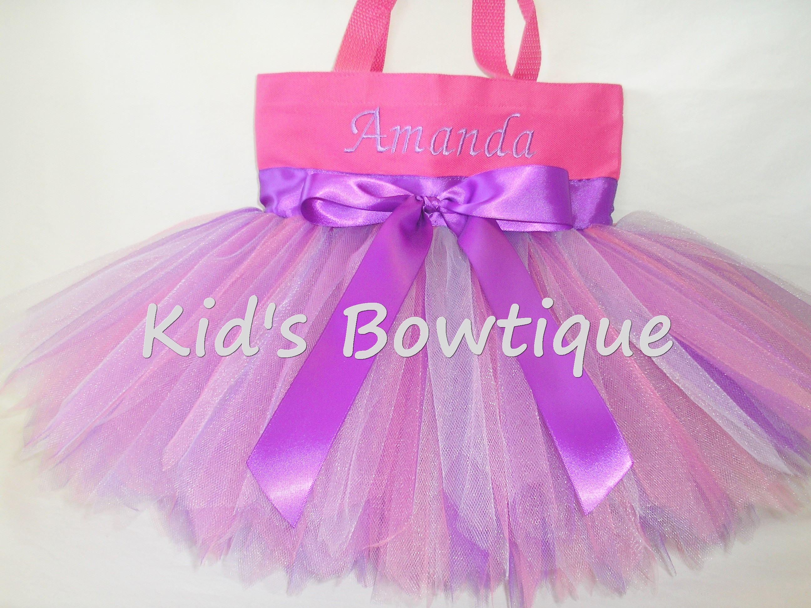 Monogrammed Tutu Tote Bag - ttb10 Pink with Purple Bow