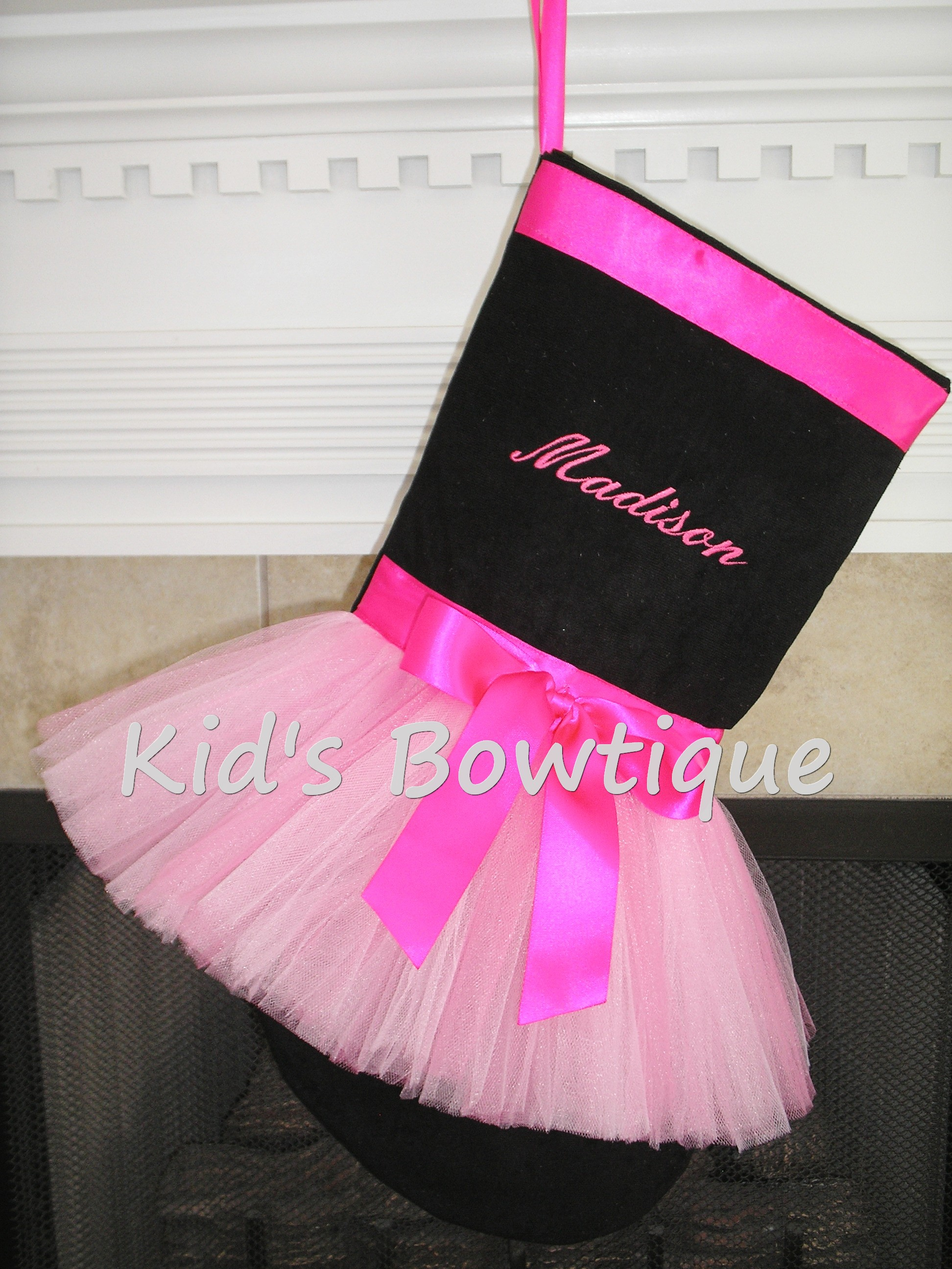 Christmas Tutu Stocking - ItemCTS7 Monogrammed Black Stocking with Pink Ribbons