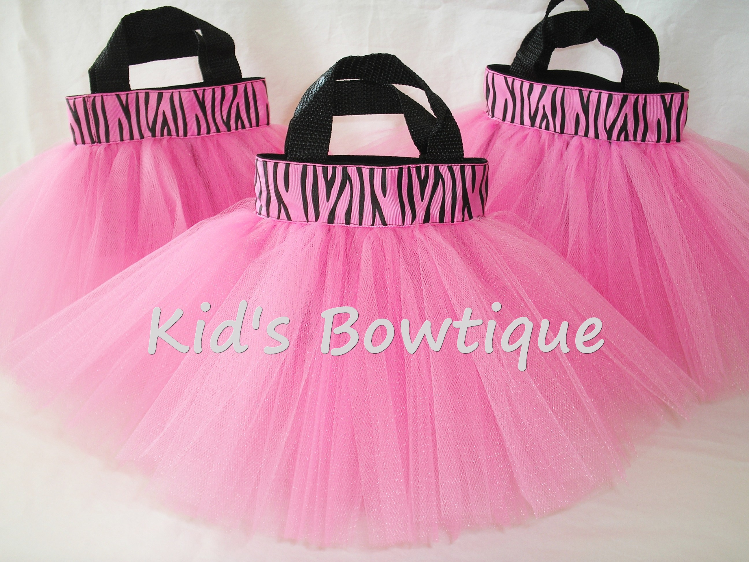 Party Favor Tutu Bags -pftb26 Hot Pink Zebra Ribbon