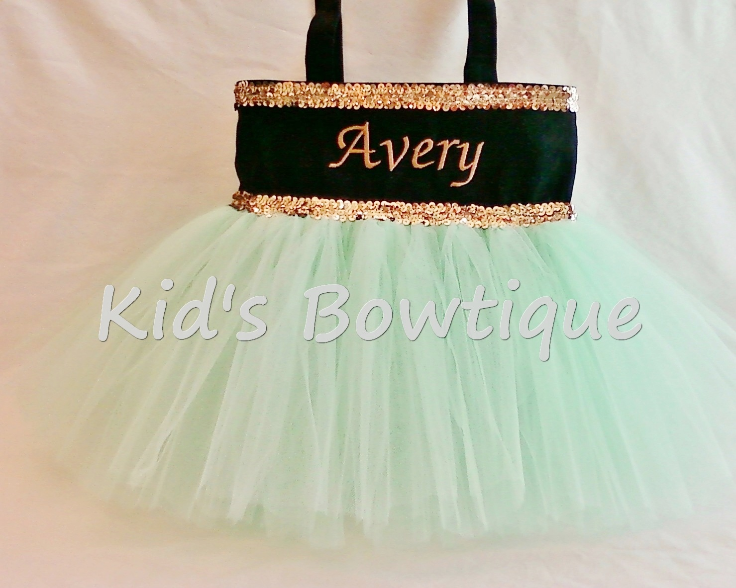 Princess Tutu Bag - ItemPTTB10 Black Bag Seafoam Tutu Gold Sequins