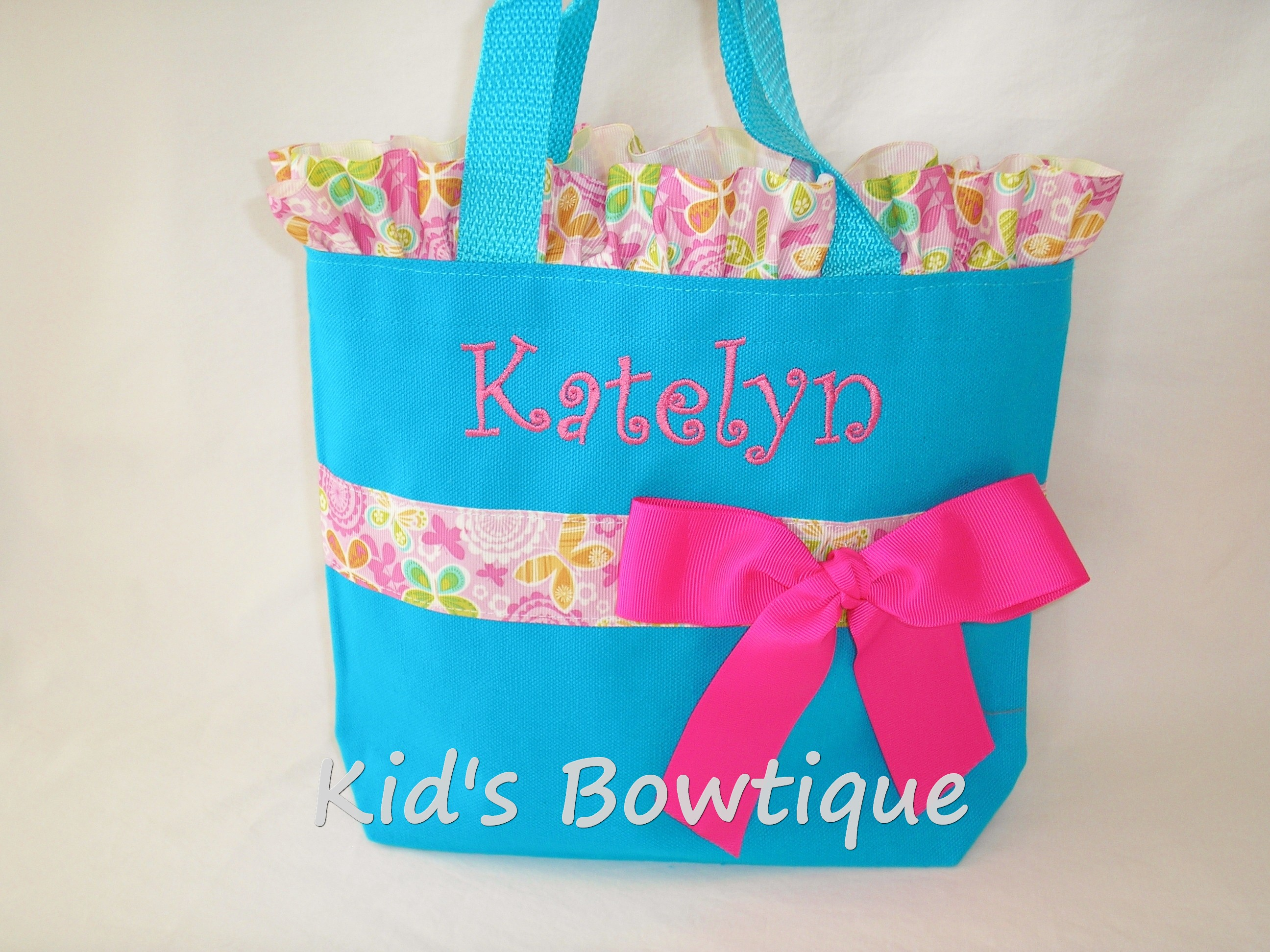 Ruffles and Bow Butterfly Ribbon Personalized Tote Bag