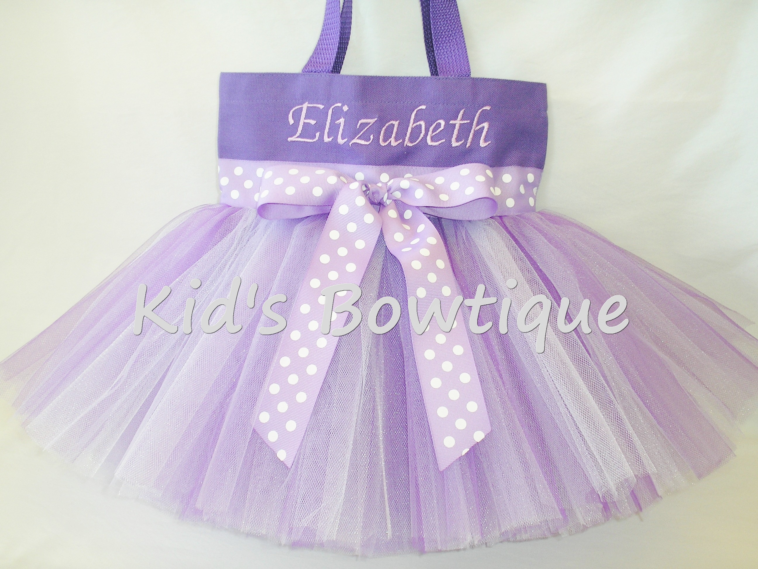 Monogrammed Tutu Tote Bag - Item ttb5 Purple with Polka Dots Ribbon