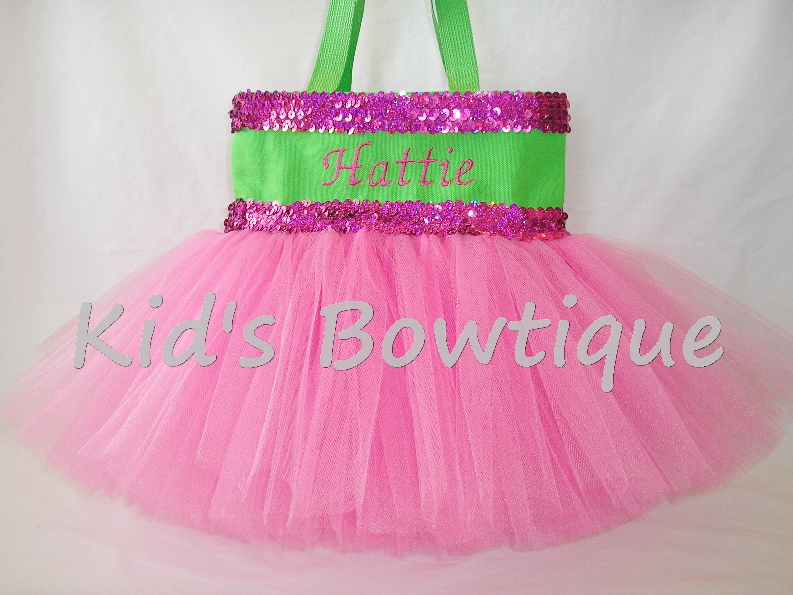 Monogrammed Tutu Tote Bag - ttb46 Lime with Double Hot Pink Sequins