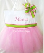 Personalized Tutu Tote Bag - ttb37 Ballgown SKIRT Pink & Lime Ribbon