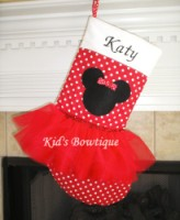 Christmas Tutu Stocking - ItemTS13 Monogrammed Red Mouse
