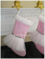 Christmas Tutu Stocking - ItemCTS1 Monogrammed Pink Stocking with Silver Sequins