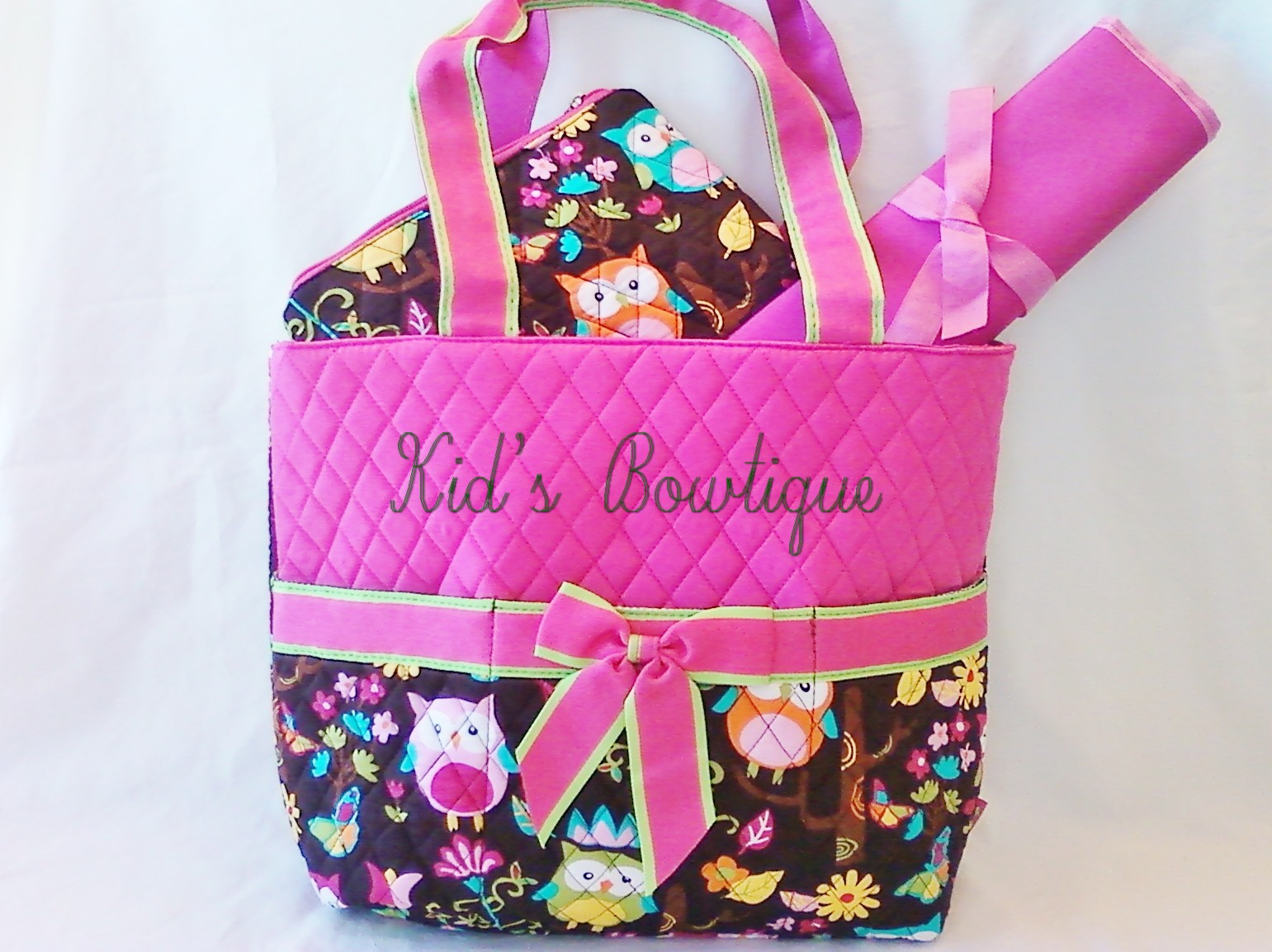 Monogrammed Pink Hoot Owl Diaper Bag Set