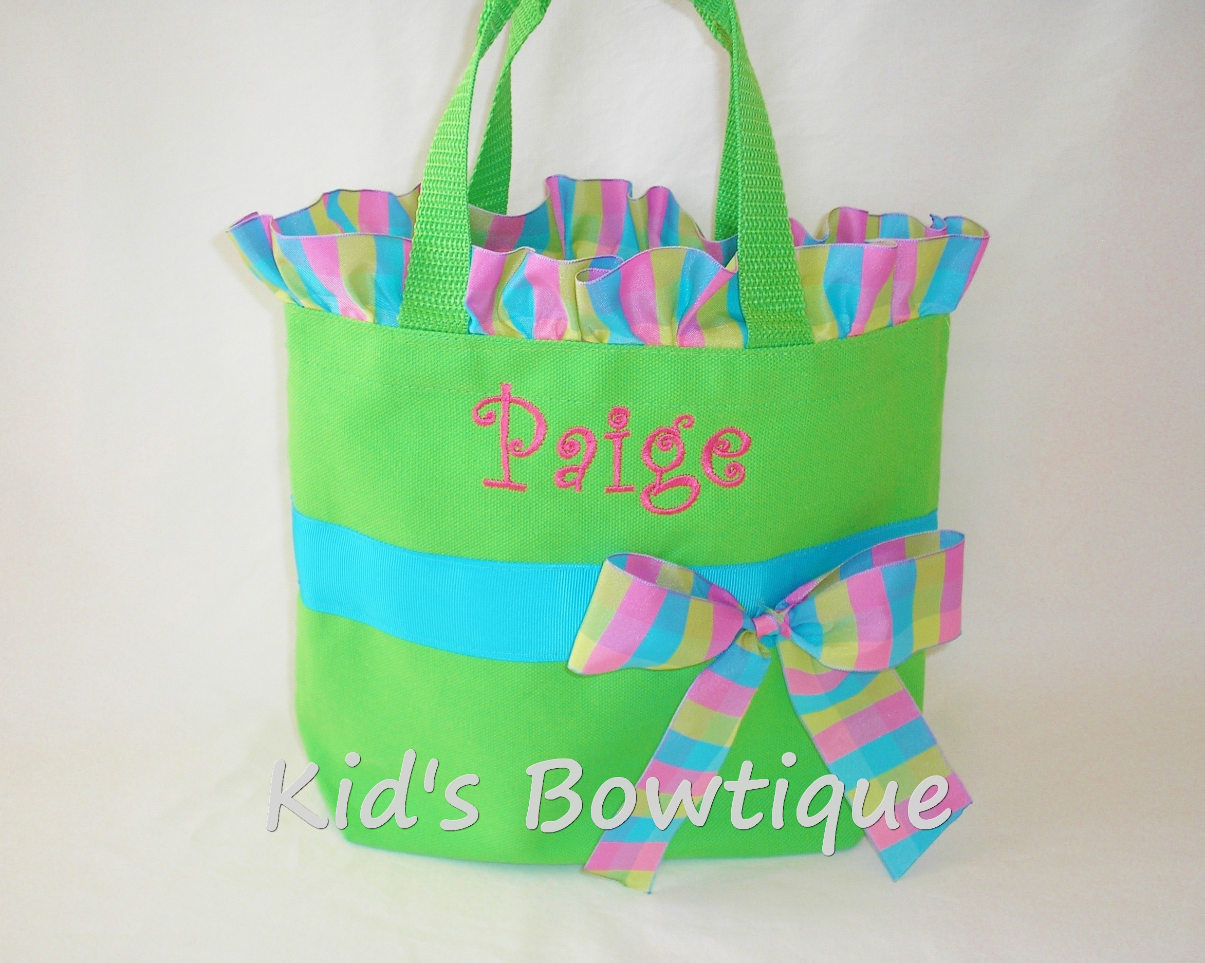 Ruffles and Bow Aqua Hot Pink and Lime Ribbon Personalized Tote Bag