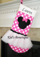 Christmas Tutu Stocking - ItemTS11 Monogrammed Pink Mouse