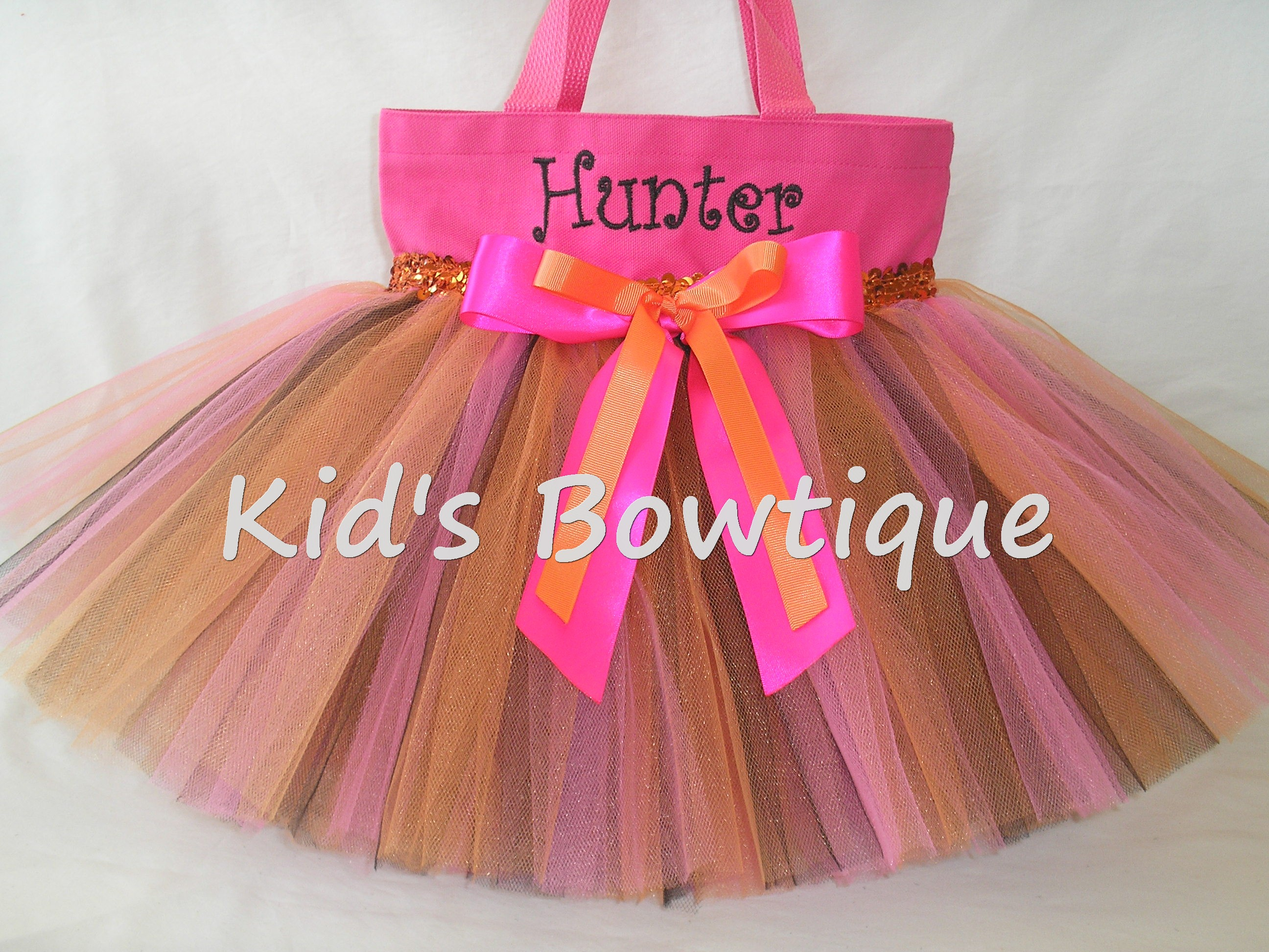 Monogrammed Tutu Tote Bag - ttb44 Pink Orange Black Butterfly