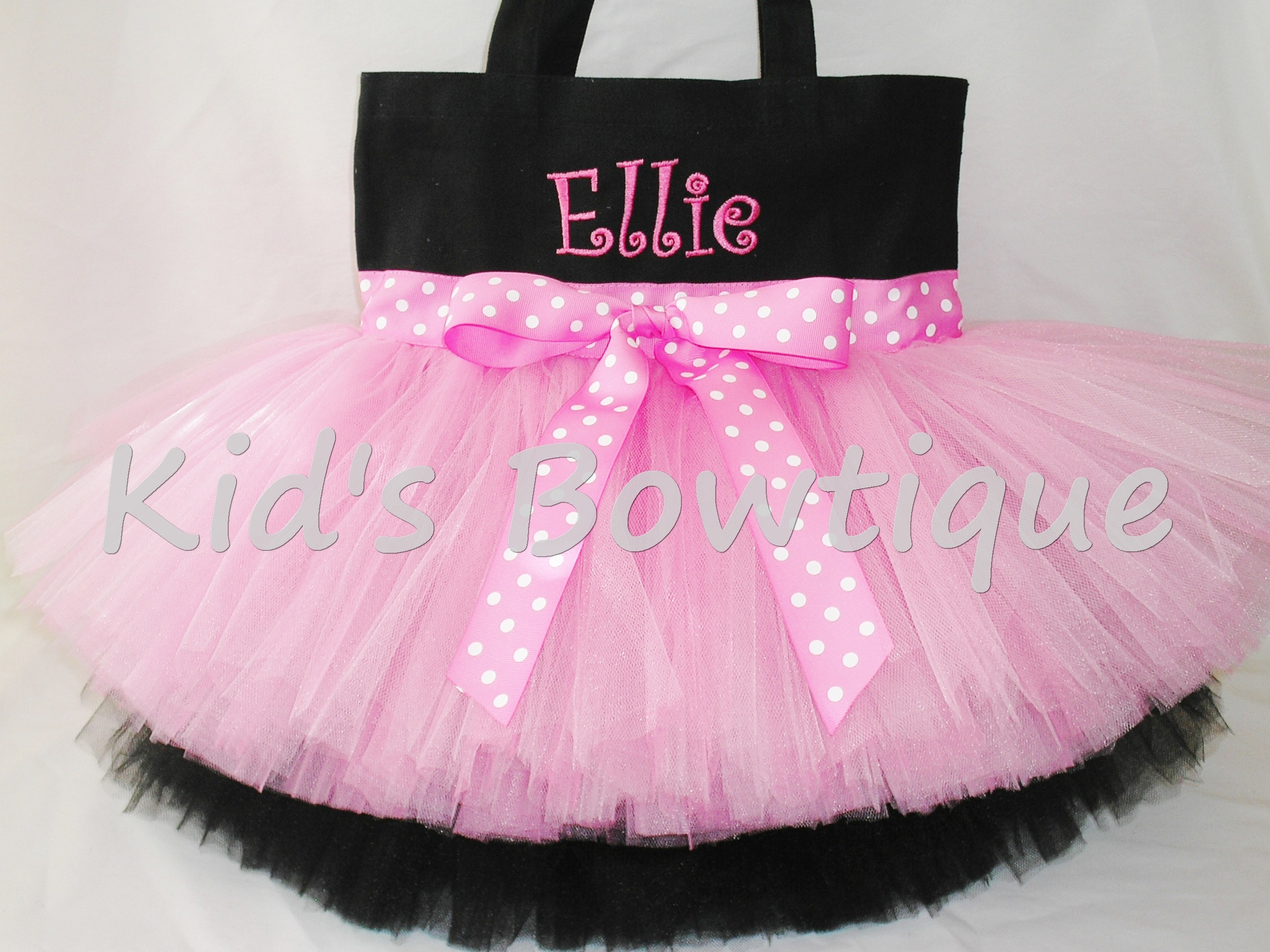 Monogrammed Tutu Tote Bag - ttb47 Double Layer Pink Polka Dots Ribbon