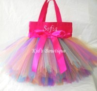 Monogrammed Tutu Tote Bag - ttb20 Hot Pink Rainbow Fairy