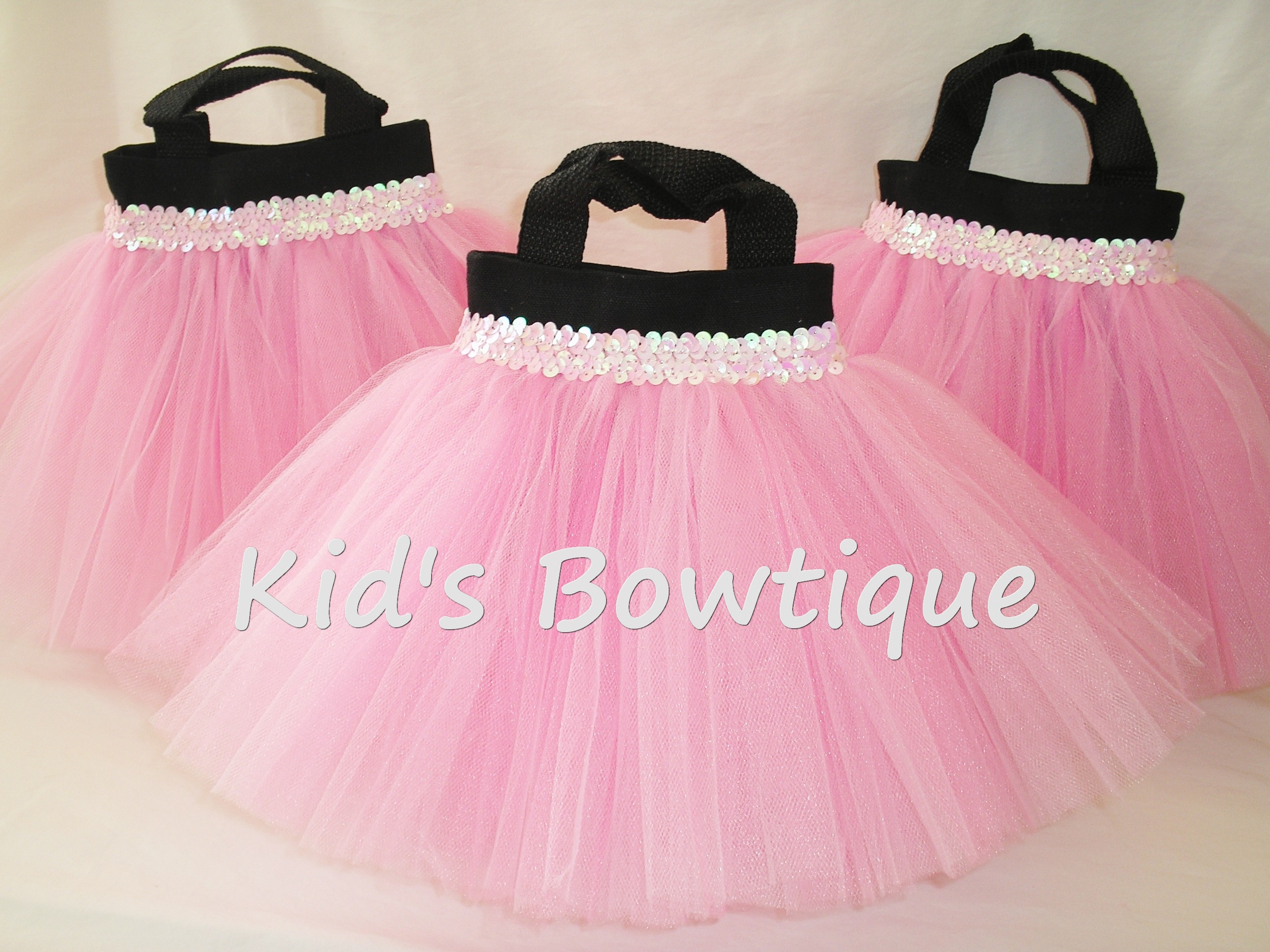 Party Favor Tutu Bags -pftb27 Pink Tutu and Sequins on Black Bag