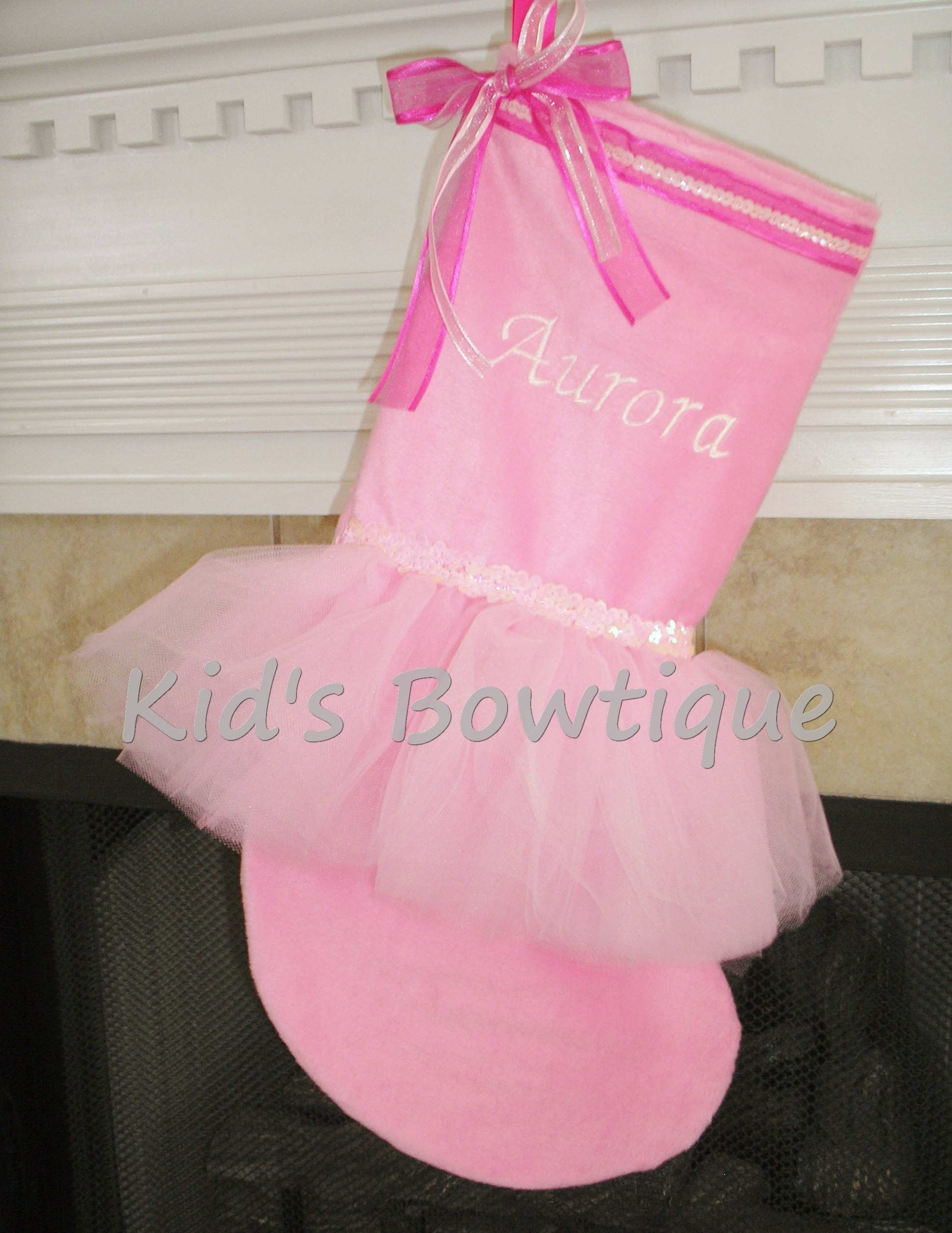 Christmas Tutu Stocking - ItemCTS9 Monogrammed I Love Pink Stocking