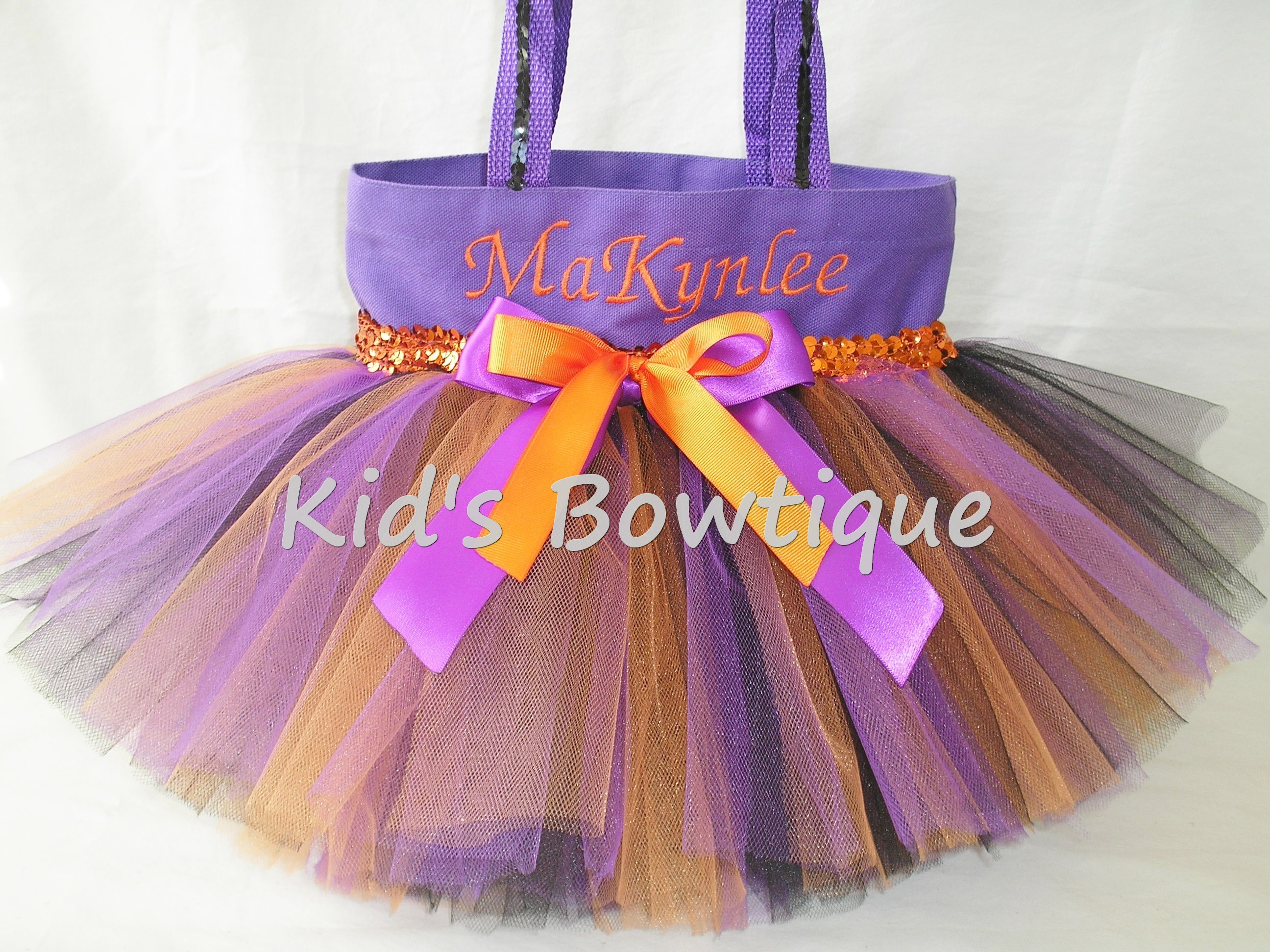 Halloween Tutu Bags - Item HTB3 Monogrammed Purple Black and Orange Tutu Bag